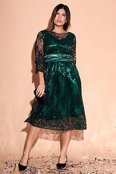 Батальное атласное красивое платье Изабэль-1 с роскошной сеткой в цветы
