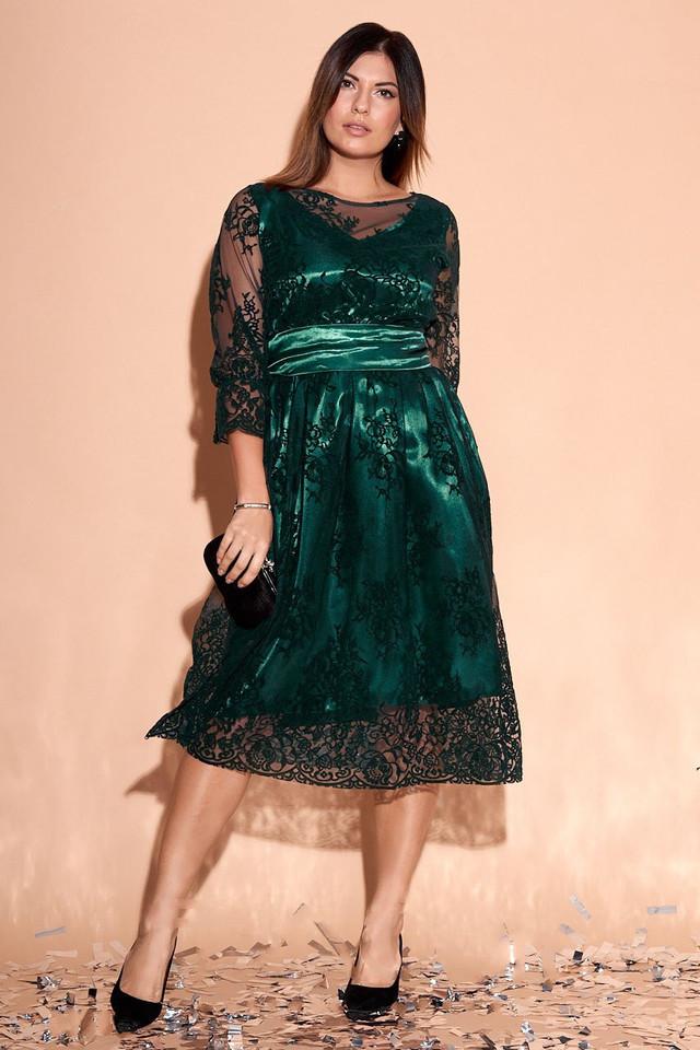 Фото Батального атласного красивого платья Изабэль-1