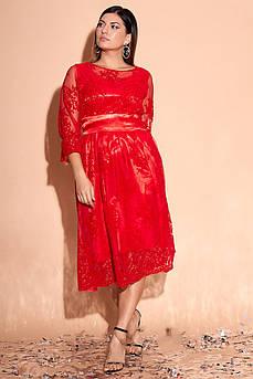 Батальное атласное красивое платье Изабэль-2 с роскошной сеткой в цветы