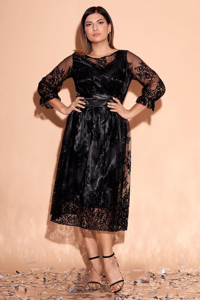 Фото Батального атласного красивого платья Изабэль-3