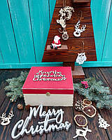 Деревянная новогодняя подарочная упаковка, коробка, ящик с красной крышкой и объемной надписью