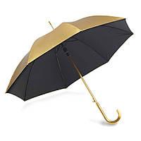 Зонт-трость полный автомат металлик двухцветный , ручка пластик, золотисто-черный, от 10 шт.