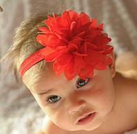 """Нарядная красная повязка на голову """"шифон """" для девочки (есть разные цвета и модели), фото 1"""