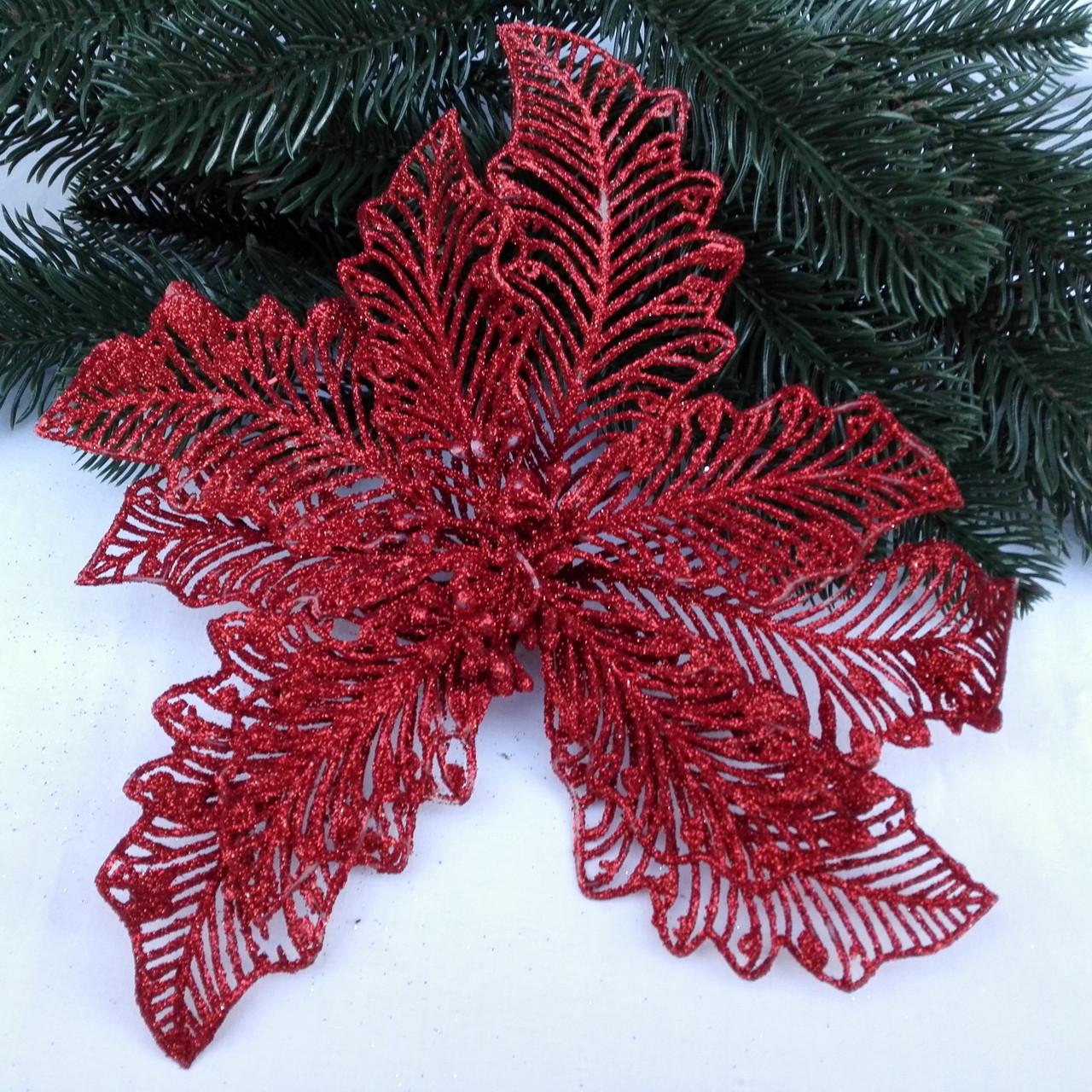 Пуансетия красная в глиттере  23 см