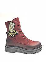 Ботинки зимние женские кожаные красные натуральный мех.