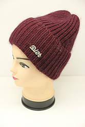 Женская вязаная шапка баклажанового цвета Джелла  (19566)