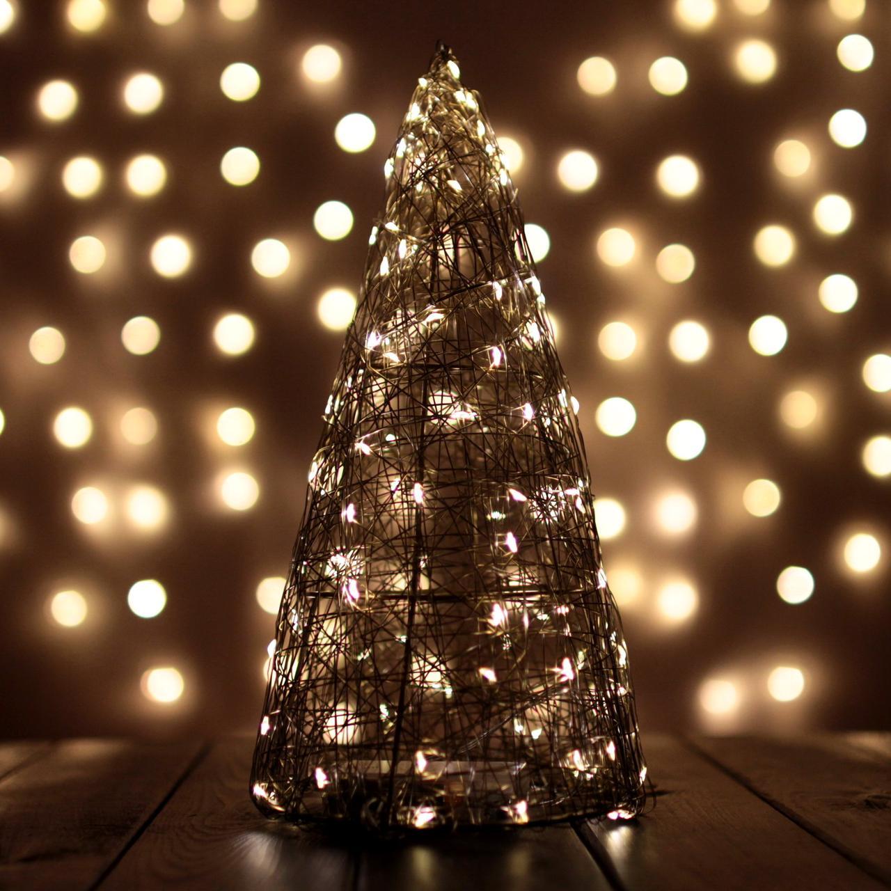 Декор Елка ЛОФТ Новогодняя Рождественская Ель с LED Гирляндой На Батарейках Или От USB 32х16см GoldWarmLOFT