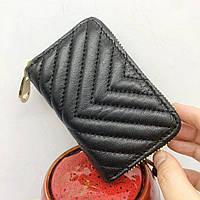 Мини кошелек кардхолдер для карточке на молнии / натуральная кожа #10212 Черный