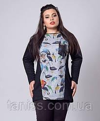 Трикотажная женская туника, большого размера, карман кожа, р.54,56,58 птички (282)