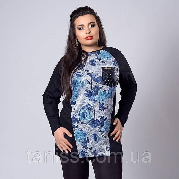 Трикотажная женская туника, большого размера, карман кожа, р.56,58 роза синяя (282)
