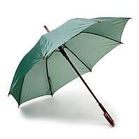 Зонт-трость полуавтомат, светоотражающая полоса, ручка дерево, зелёный, от 10 шт.