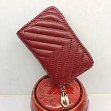 Мини кошелек кардхолдер для карточке на молнии / натуральная кожа #10212 Красный