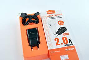 Зарядное устройство RedDax RDX-024 2A 1 Usb + кабель Micro Usb Adaptiv Fast Charging Black
