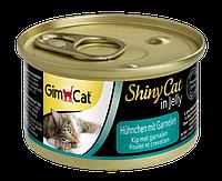 """Влажный корм Gimborn GimCat Shiny Cat """"Курица и креветка"""" 12/0,5 (для котов и кошек), 70 гр"""