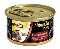 """Влажный корм Gimborn GimCat Shiny Cat """"Курица с креветками и солодом"""" 12/0,5 (для котов и кошек), 70 гр"""