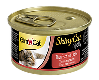 """Влажный корм Gimborn GimCat Shiny Cat """"Тунец и лосось"""" 12/0,5 (для котов и кошек), 70 гр"""