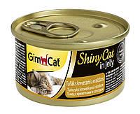 """Влажный корм Gimborn GimCat Shiny Cat """"Тунец с креветками и солодом"""" 12/0,5 (для котов и кошек), 70 гр"""