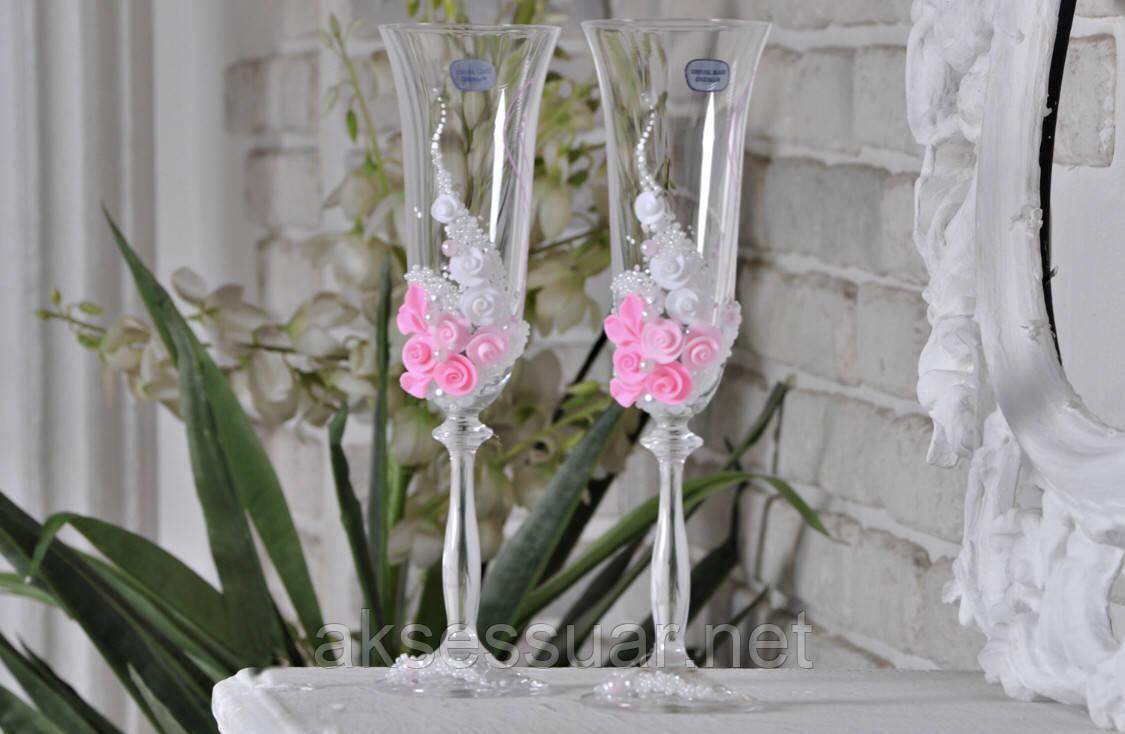 Келихи для шампанського чорно-білий наречений-наречена