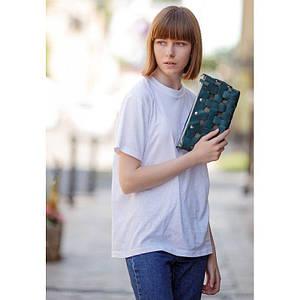 Кожаная плетеная женская сумка Пазл S зеленая Krast