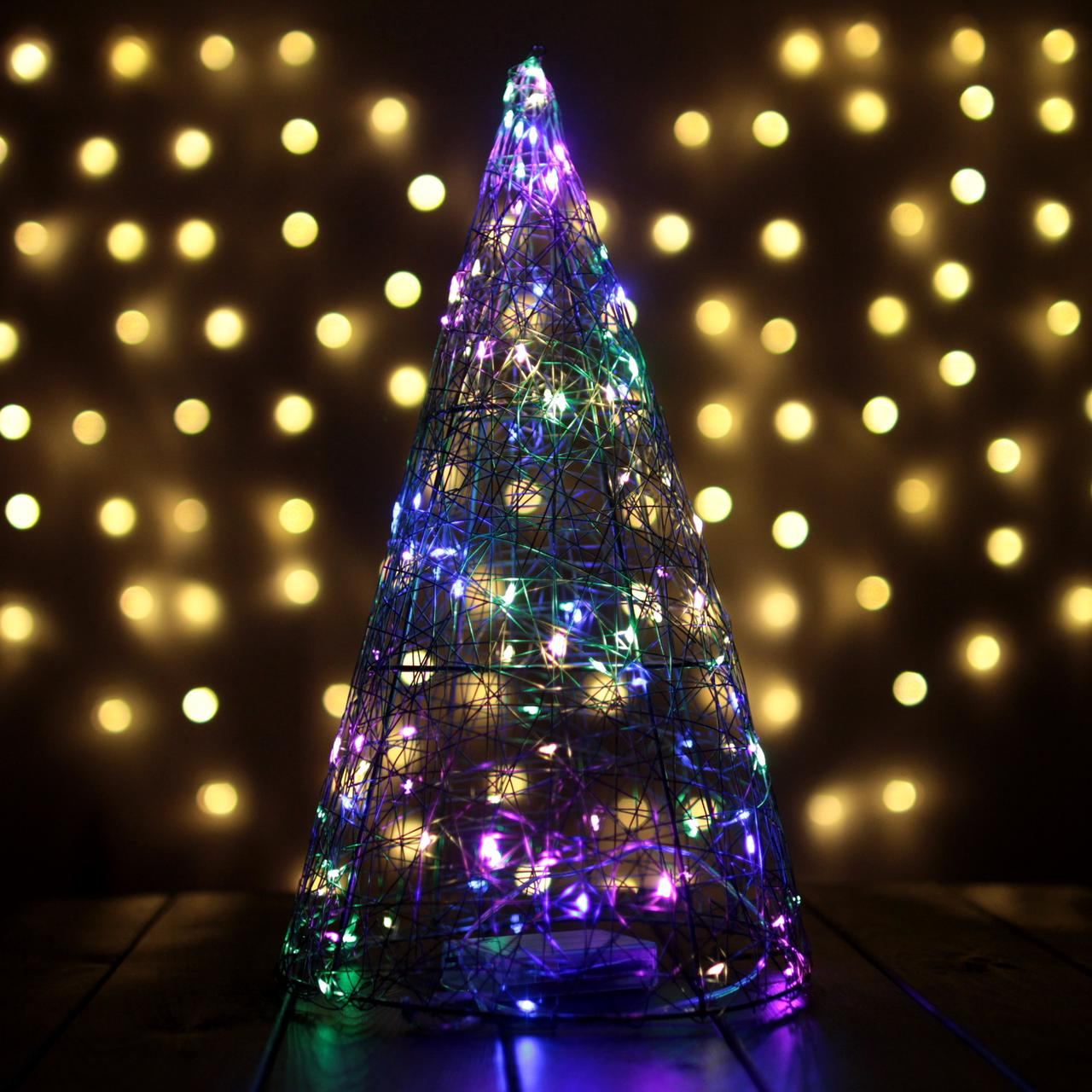 Декор Елка ЛОФТ Новогодняя Рождественская Ель с LED Гирляндой На Батарейках Или От USB 38х22см GoldMultiLOFT