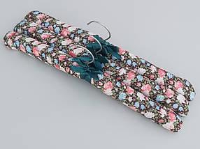 Плечики вешалки тремпеля мягкие тканевые для деликатных вещей цветастые, длина 38 см,в упаковке 3 штуки, фото 2