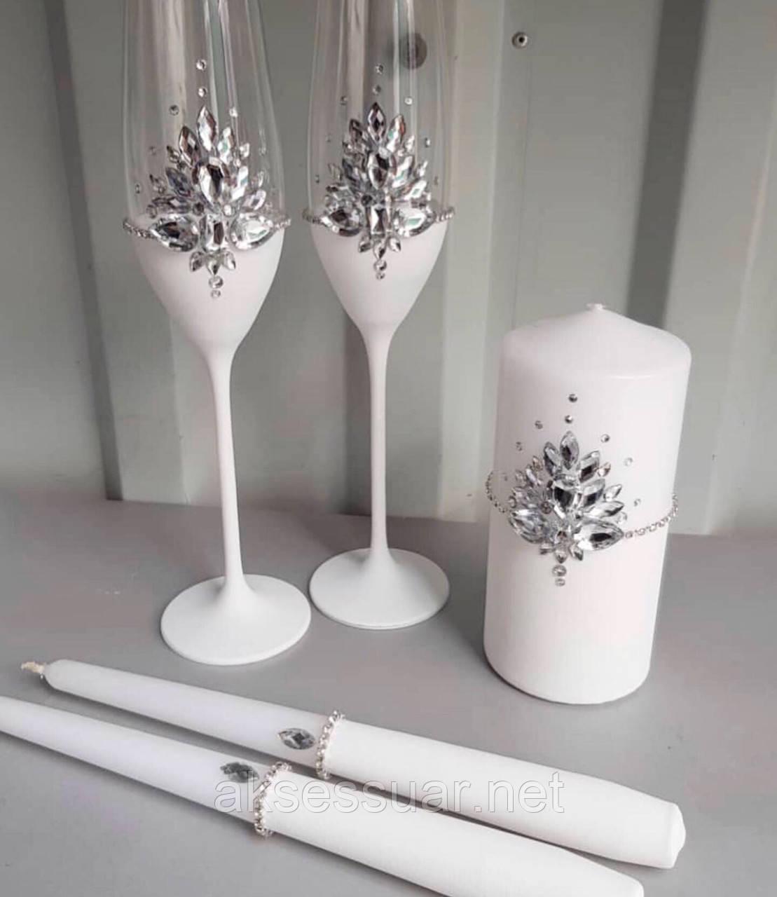 Свадебные бокалы ручной работы Камни