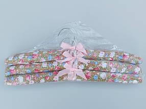 Плечики вешалки тремпеля мягкие тканевые для деликатных вещей цветастые, длина 38 см,в упаковке 3 штуки, фото 3