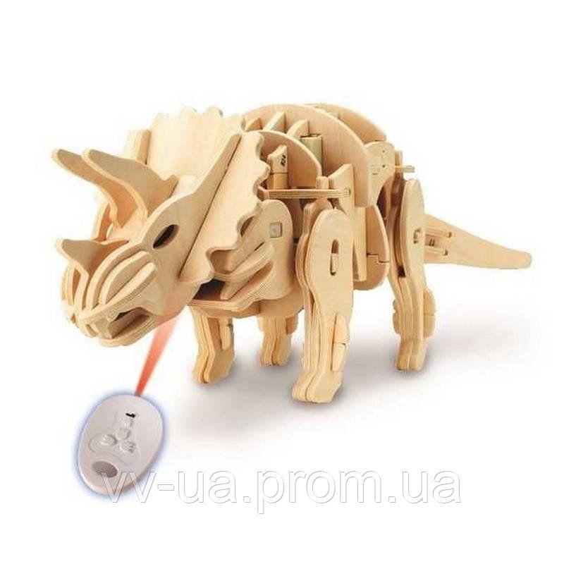 Деревянный 3D конструктор RoboTime динозавр-робот Трицератопс на радиоуправлении (D400)