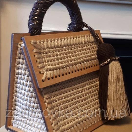 Каркас деревянный для создания сумки 19х21 из 4х частей с ручкой 6мм