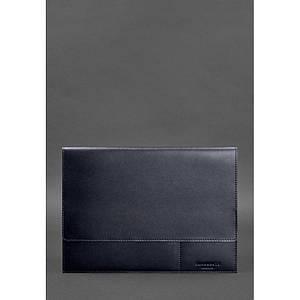 Кожаная папка для документов А4 (на магнитах) темно-синяя