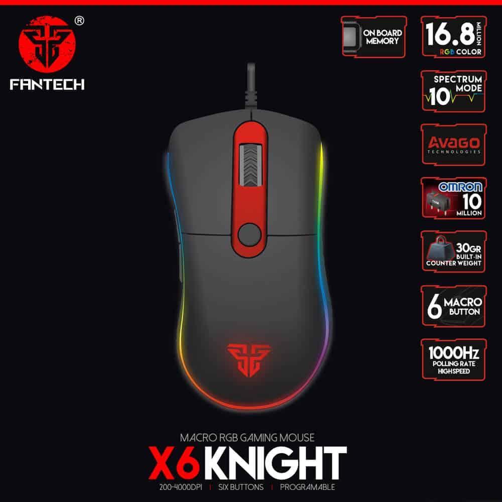 Игровая мышь Fantech x6 Knight 4000DPI макросы, подсветка, профили