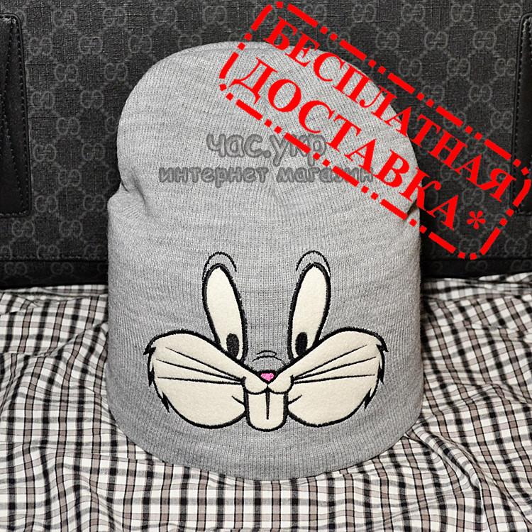 Брендовая женская вязаная шапка Moschino bugs bunny серая теплая зимняя модная унисекс бакс банни реплика