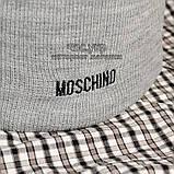 Брендовая женская вязаная шапка Moschino bugs bunny серая теплая зимняя модная унисекс бакс банни реплика, фото 3