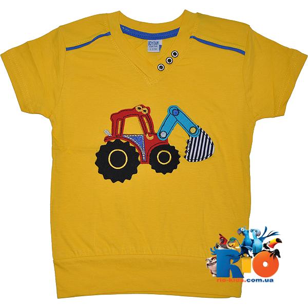 """Детская летняя футболка """"Трактор"""" , трикотаж , для мальчика 2-3;3-4;8-9;8-9 лет"""