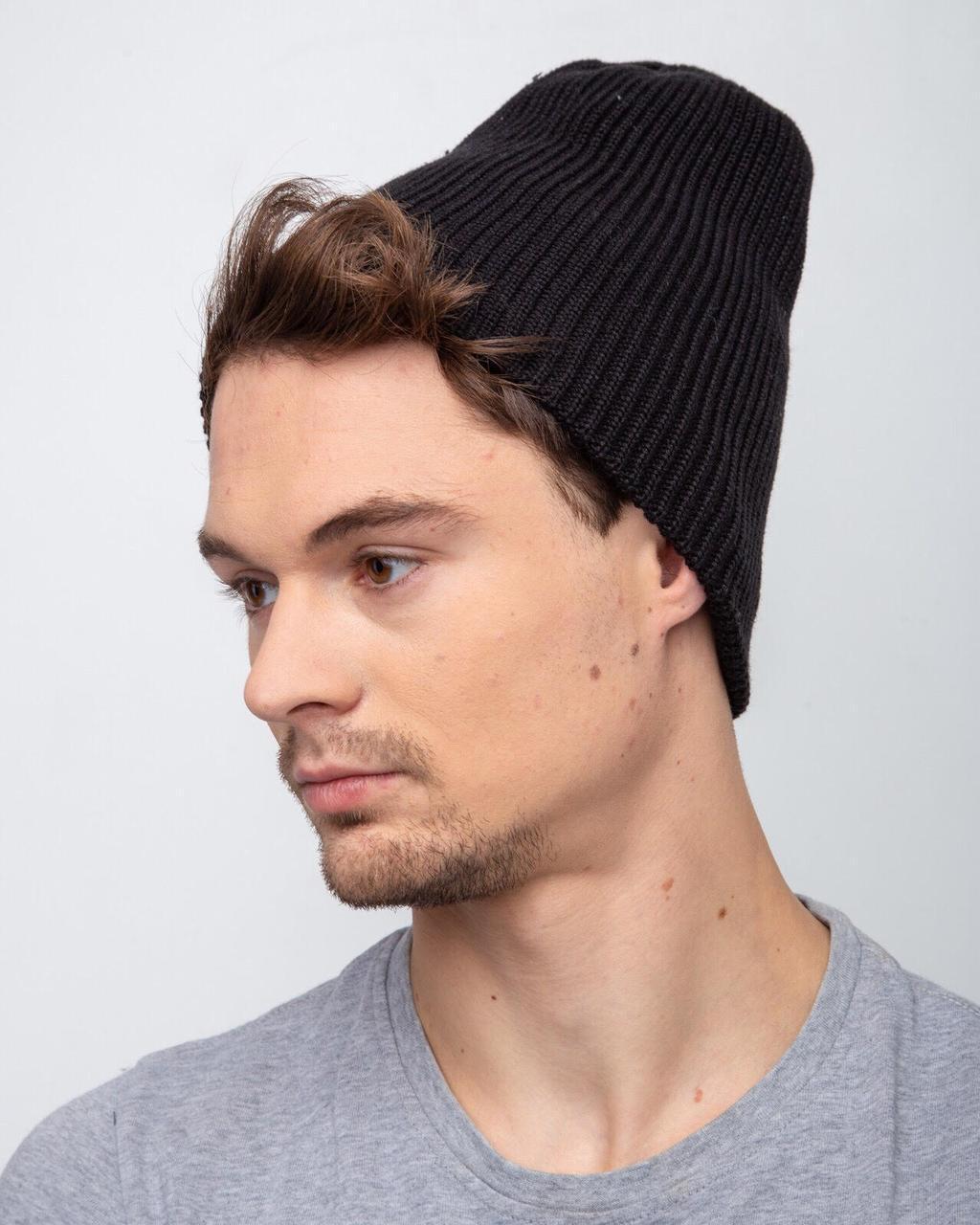 Мужская модная однотонная шапка на зиму - Артикул 2494