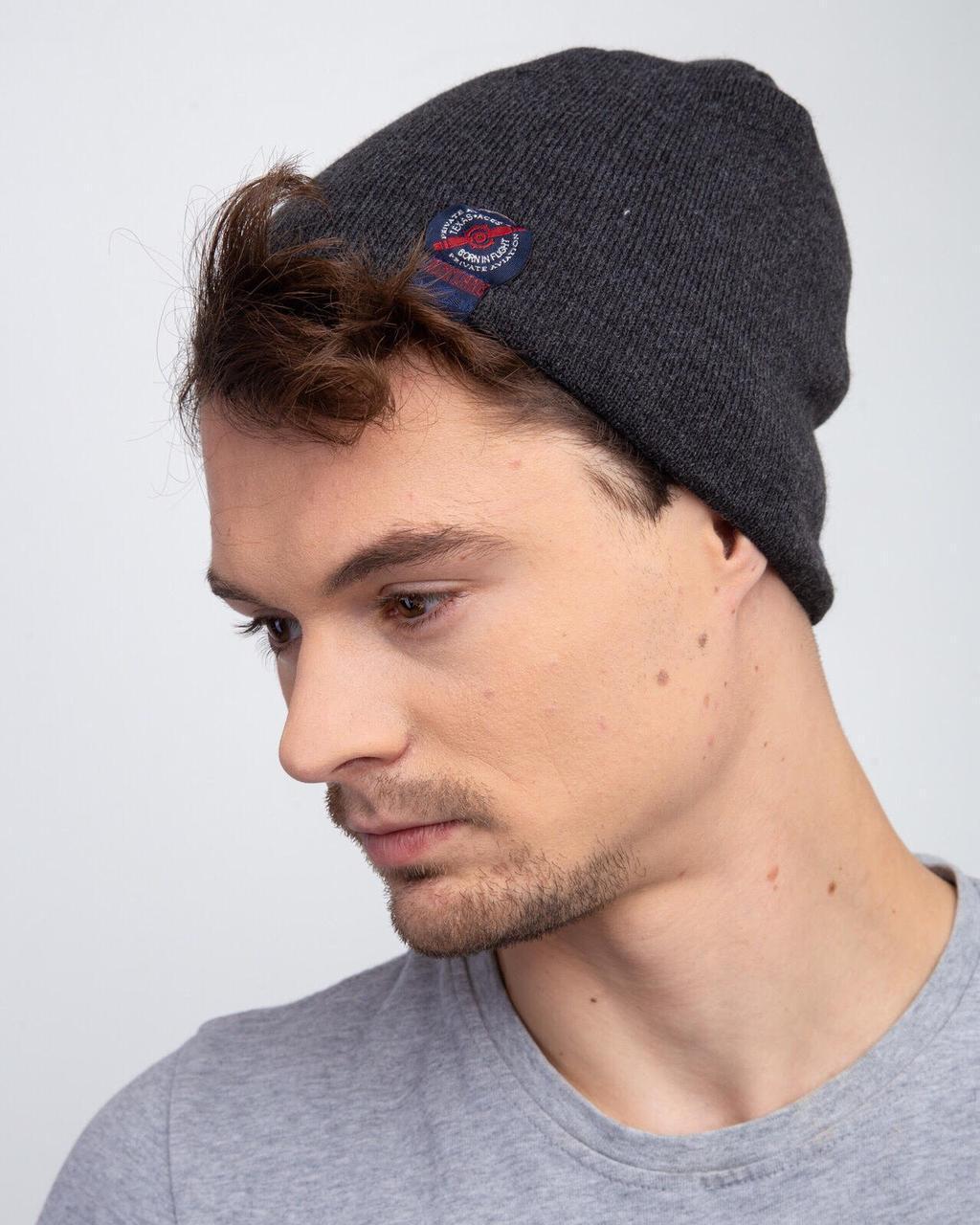 Мужская шапка на зиму  на флисе  - Артикул 2469