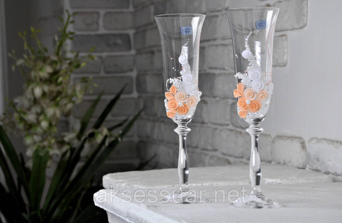 Свадебные бокалы для шампанского ручной работы