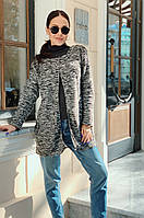 Женский стильный кардиган трапецевидного кроя из вязки