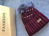 Бордовая шапка перламутр на флисовой подкладке теплая с помпоном, фото 3
