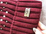 Бордовая шапка перламутр на флисовой подкладке теплая с помпоном, фото 5