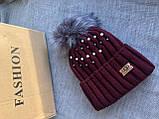 Бордовая шапка перламутр на флисовой подкладке теплая с помпоном, фото 2