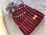 Бордовая шапка перламутр на флисовой подкладке теплая с помпоном, фото 4