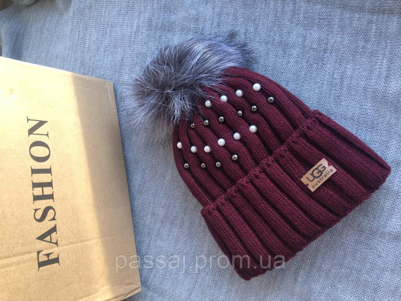 Бордовая шапка перламутр на флисовой подкладке теплая с помпоном