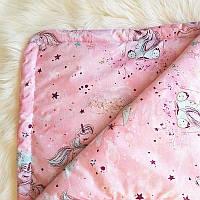 Плед Minky Единорог розовый