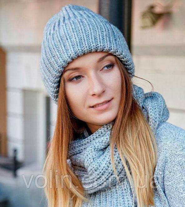 Зимняя женская вязаная шапка бини, Лира.