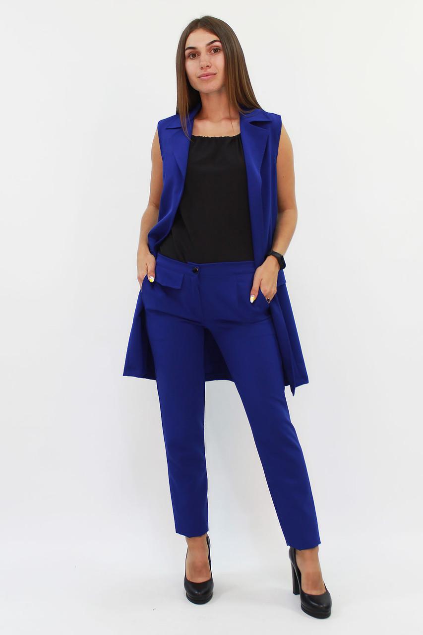 (S, M, L, XL) Жіночий синій брючний костюм Edras