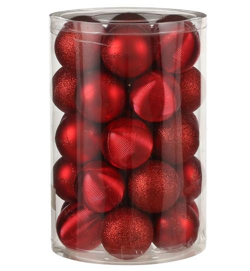 """Елочные шарики пластиковые """"House of Seasons"""" комплект 34 шт, цвет красный"""