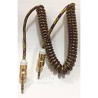 Аудио кабель Soloffer Solo-L17 спираль, 1,8m, 3.5 aux, золотистый, аудио переходник  Soloffer Solo-L17, перходник