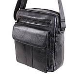 Мужская кожаная сумка черного цвета, фото 3