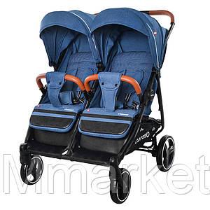 Прогулочная коляска CARRELLO Connect CRL-5502 Evening Blue для двойни, в льне